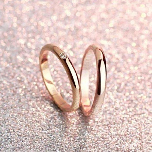 316L醫療鋼 弧形單小鑽 戒指指節戒尾戒-玫瑰金 防抗過敏 不退色