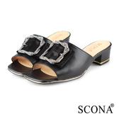 SCONA 蘇格南 真皮 奢華鑽釦粗跟涼拖鞋 黑色 31045-1