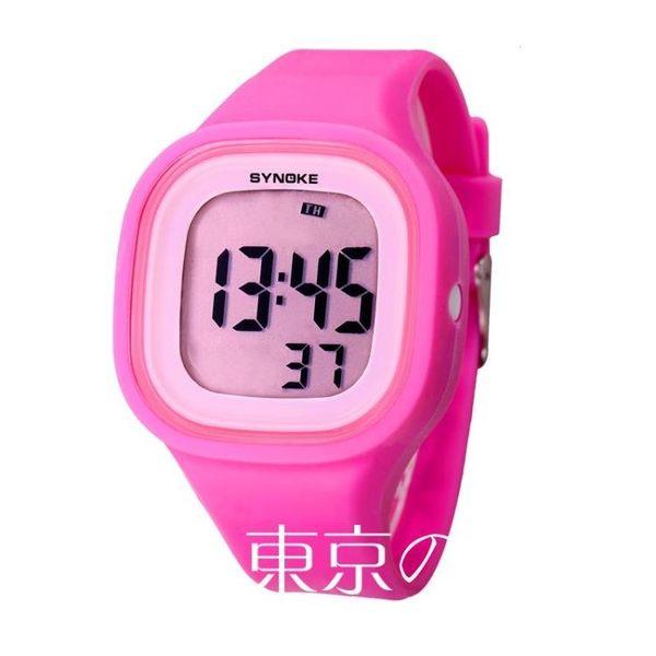 電子錶防水夜光硅膠果凍錶 東京戀歌