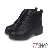 短靴-TTSNAP 經典綁帶圓頭側拉鍊中跟靴 黑