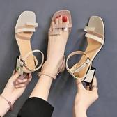 新品涼鞋 網紅涼鞋女 新款韓版百搭粗跟露趾一字扣透明帶高跟鞋子