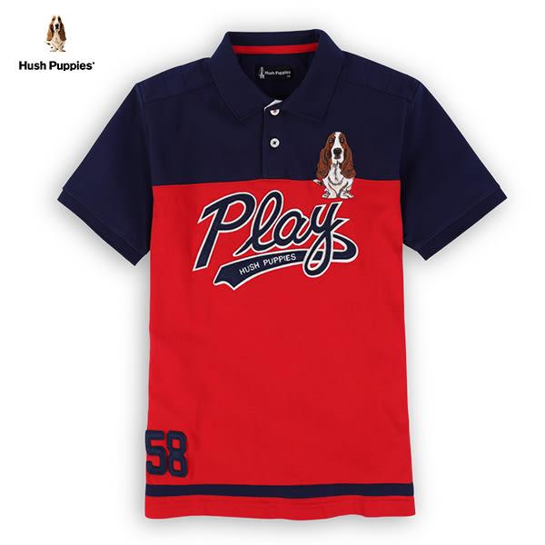 Hush Puppies POLO衫 男裝雙色拼接款貼布繡刺繡狗POLO衫