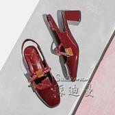 低跟涼鞋 夏季粗跟漆皮方頭綁帶鞋仙女繩結瑪麗珍包頭涼鞋【蘇迪蔓】