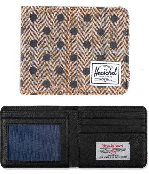 Hsin 59折 現貨 Herschel Hank 高階 聯名 Harris Tweed 英國 頂級羊毛 皮革 黑色 點點 錢包 皮夾 短夾