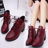 女裝馬丁靴尖頭皮鞋繫帶短靴