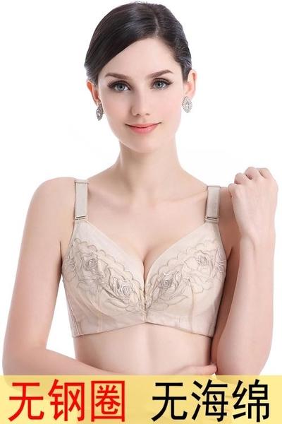 無鋼圈文胸無海綿透氣夏季超薄胸罩薄款蕾絲聚攏內衣收副乳調整型