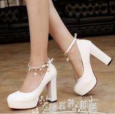 春秋女單鞋簡約OL女士皮鞋扣帶粗跟防水台白色高跟鞋優雅 奇思妙想屋