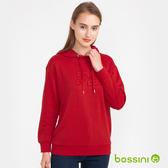 【歲末出清2件999】圖案連帽厚棉T恤03暗紅-bossini女裝