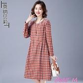 棉麻洋裝棉麻格子連身裙女秋裝年新款寬鬆顯瘦收腰長袖外穿棉綢中長裙 JUST M