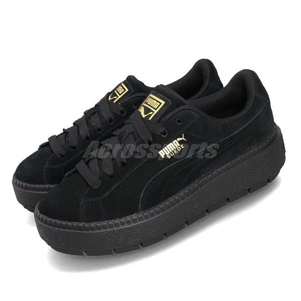 Puma 休閒鞋 Platform Trace Wns 黑 金 女鞋 運動鞋 麂皮 【ACS】 36583001