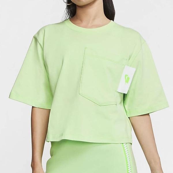 【現貨】NIKE NSW 女裝 短袖 短版 寬鬆 休閒 穿搭 大口袋 五分袖 棉質 綠【運動世界】CT0875-376