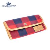 【COLORSMITH】CC・扣式長夾-紅藍格紋・WLCC2054-RB
