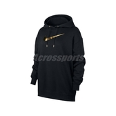 Nike 長袖T恤 NSW Hoodie 黑 金 女款 帽T 長版 燙金 運動休閒 【PUMP306】 BV4987-010