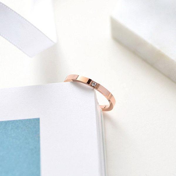 [哈飾奇]韓版戒指/電鍍玫瑰金/單鑽戒指/氣質優雅/百搭不厭/尾戒/白鋼戒指【HA003】單只價