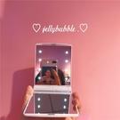 化妝鏡 JELLY BUBBLE/少女心 隨手化妝鏡 LED小夜燈補妝鏡 送貼紙  快速出貨
