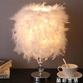 小夜燈羽毛臺燈臥室ins少女床頭燈創意簡約現代小夜燈結婚房溫馨裝飾燈 晶彩