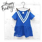 純棉 夏日V字造型水手風短袖洋裝 女童 學院風 童裝 家庭裝 【哎北比童裝】