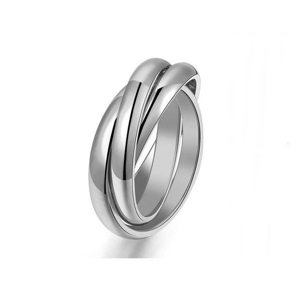 316L醫療鋼 弧形亮面三環戒戒指-銀 防抗過敏 不退色