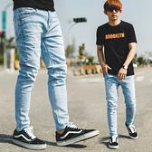 牛仔褲 韓國製淺藍刷色合身版牛仔褲【NB0745J】
