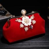 轉眼間 中國風旗袍晚禮服包包 新娘手拿包結婚晚宴包紅宴會手包女