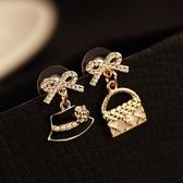耳環 玫瑰金純銀鑲鑽-璀璨非凡生日聖誕節交換禮物女飾品73ca55[時尚巴黎]