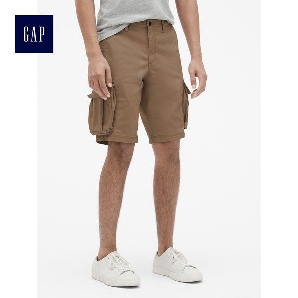 Gap男裝 彈力水洗色工裝風短褲 440760-棕色