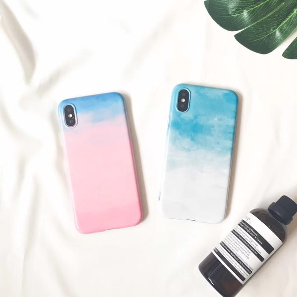 iPhone手機殼 清新藍白+粉藍漸層 磨砂軟殼全包 蘋果iPhone8 X/iPhone7/i6手機殼