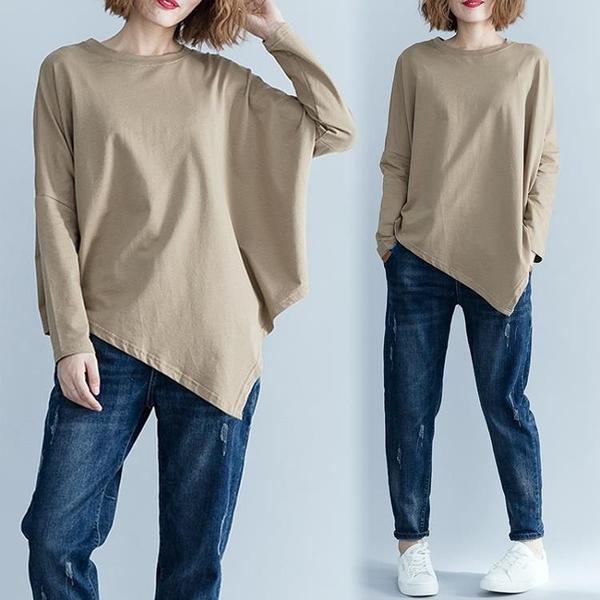 中大尺碼 秋裝女2020新款寬鬆上衣韓版大碼不規則下擺純色長袖圓領百搭T恤 店慶降價