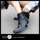 馬丁靴 低跟  歐美真皮粗跟尖頭短靴 m...