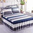 純棉夾棉床裙式床罩單件全棉加厚圍裙床套防滑床群花邊床單新款帶 3C優購