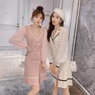VK精品服飾 韓國風雙排扣西裝領拼接雪紡長袖洋裝