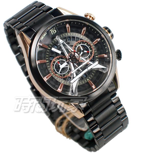 T5 sports time 巴黎鐵塔 三眼計時碼表 個性 型男 防水手錶 日期視窗 男錶 IP黑電鍍 H3664G玫黑