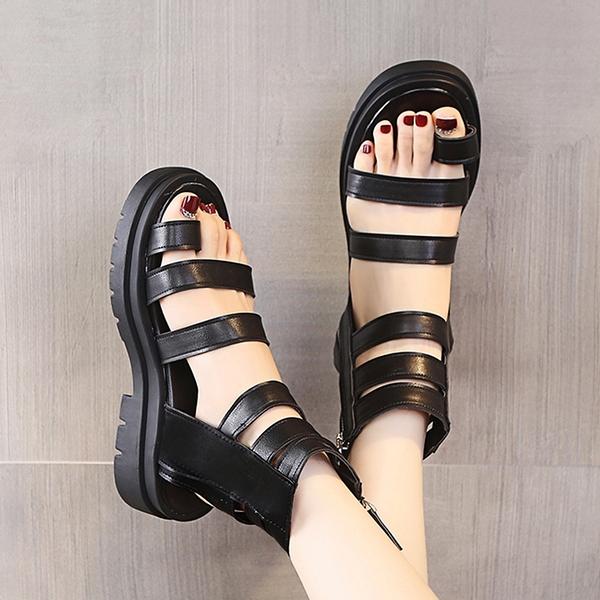 厚底涼鞋 涼鞋2021年新款女夏季鬆糕厚底高幫后拉鍊鏤空羅馬休閒沙灘鞋涼靴  美物 99免運