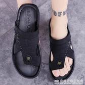 新款皮涼鞋男夏季外穿男士涼拖室外兩用ins越南拖鞋男夏潮流 完美居家