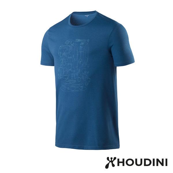 【瑞典 Houdini】Big Up Message Tee 舒適快乾休閒T恤 男款 天然藍 #237894
