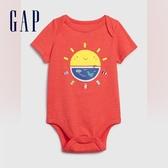 Gap男嬰創意印花信封領包屁褲576917-活力螢光珊瑚紅