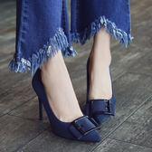 高跟鞋 歐美金屬方扣黑色百搭尖頭淺口鞋細跟高跟單鞋 巴黎春天