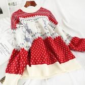 聖誕節毛衣 M855冬天森系毛衣過年紅色圣誕節秋可愛網紅秋冬毛衫氣質針織外穿 歐歐