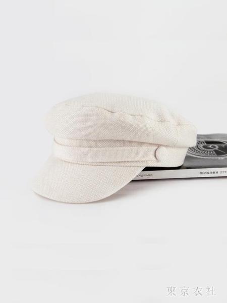 夏季貝雷帽女薄款棉麻日系韓版白色平頂防曬網紅英倫海軍八角帽子  LN3254【東京衣社】
