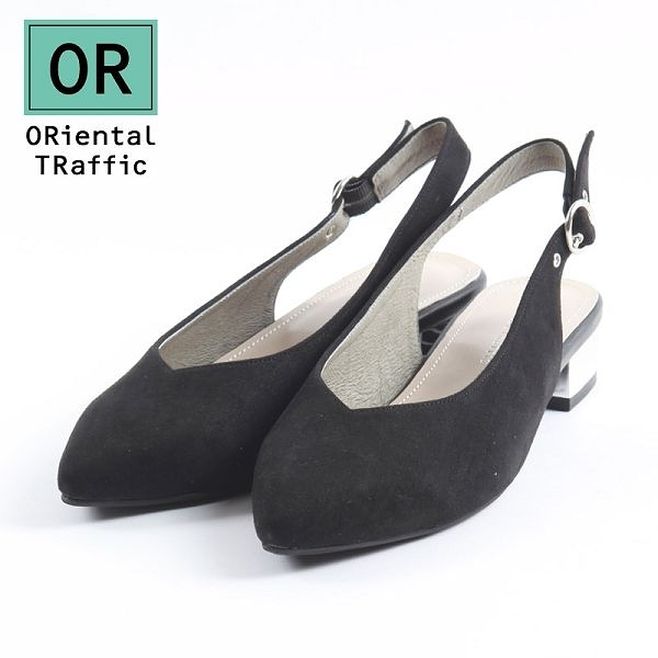【ORiental TRaffic】V口金屬圓環繫帶銀跟鞋-時尚黑