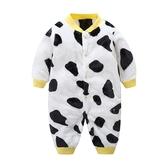 乳牛法蘭絨新生兒保暖包屁衣 爬爬服 寶寶衣 兔裝 哈衣 連身裝 嬰兒服
