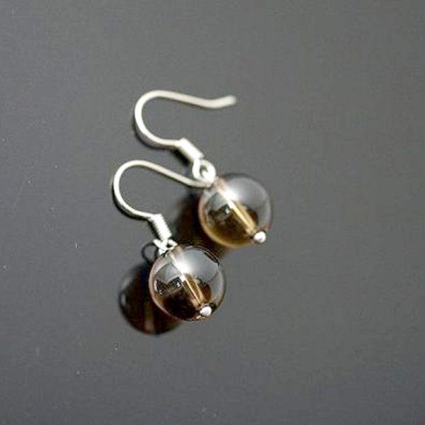 【喨喨飾品】茶水晶耳環飾品 S44
