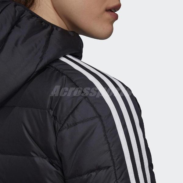 adidas 外套 Essentials Down Parka 黑 白 女款 保暖 羽絨外套 運動休閒【ACS】 GH4590