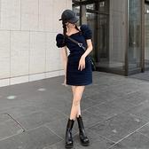 日系復古牛仔裙子2020夏季方領泡泡袖氣質短裙新款法式淑女洋裝 【ifashion·全店免運】