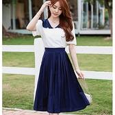 青春學院風藍白配色壓褶及膝裙兩件套(白上衣+藍及膝裙)[99193-QF]小三衣藏