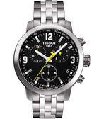 TISSOT 天梭 PRC200 競速三眼計時手錶-黑x銀 T0554171105700