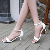高跟鞋高跟一字扣涼鞋女細跟中跟女鞋潮露趾涼鞋夏季羅馬小碼女涼鞋快速出貨