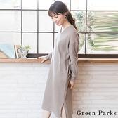 「Hot item」V領長版側開衩連身裙 - Green Parks