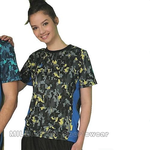 MILD STAR 男女吸濕排汗短T恤-AS181315-黃灰迷彩