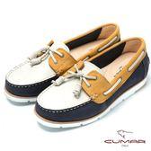 ★新品上市★【CUMAR】台灣製造撞色時尚真皮帆船鞋(藍)